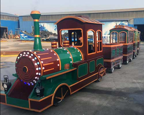 vintage trackless train